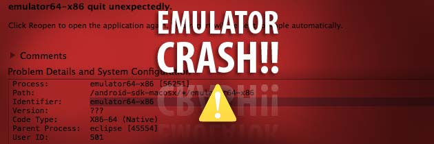 Android Emulator Crash