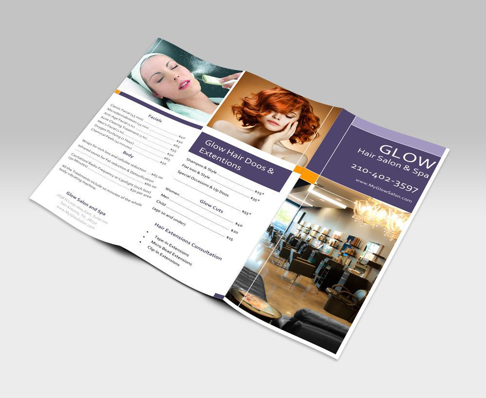 Tri-fold Brochure Graphic Design for Glow Salon and Spa