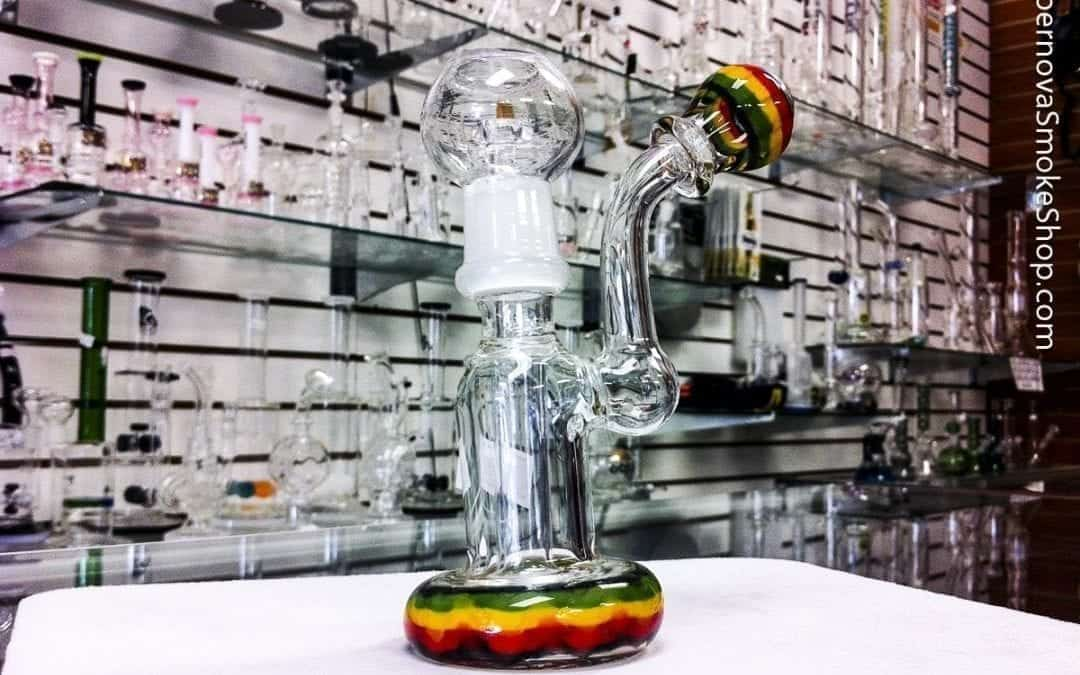 Rasta Colored Mini Bubbler Rig