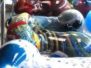 Close up of a beautiful glass handpipe.