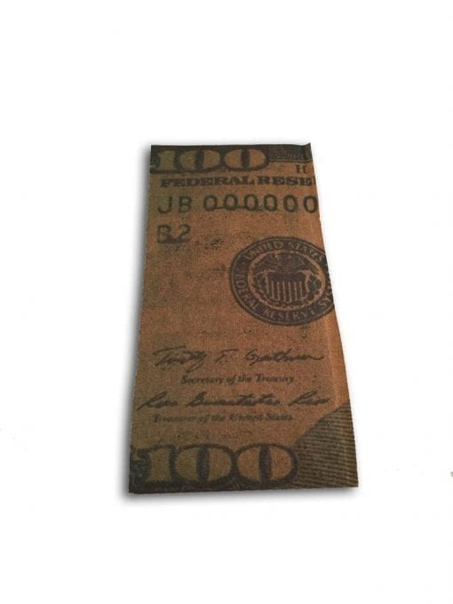 Photo of a single unrolled Benjamin cigar wrap.