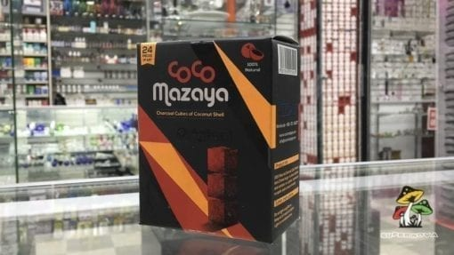 Photo of a 24 count box of Coco Mazaya Clean Burning Coconut Shell Charcoal