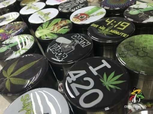 Photo of a collection of premium novelty herb grinders.