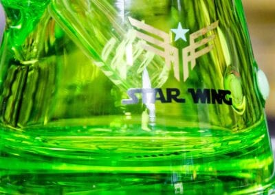 Close-up of base on Star Wing Glycerin filled waterpipe.